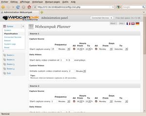 Admin  Panel System Configuration - Webcampak